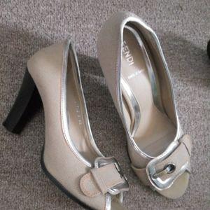 Fendi beautiful peep toe heel with buckle accent